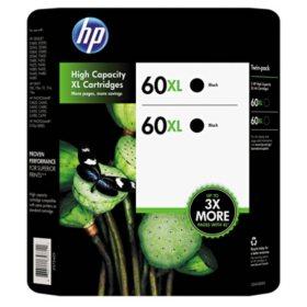 HP 60XL High Yield Original Ink Cartridges, Black, 2 Pack