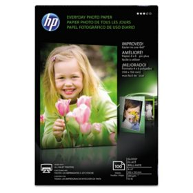 "HP Everyday Glossy Photo Paper, 53 lb., 4"" x 6"", 100 Sheets/Pack"