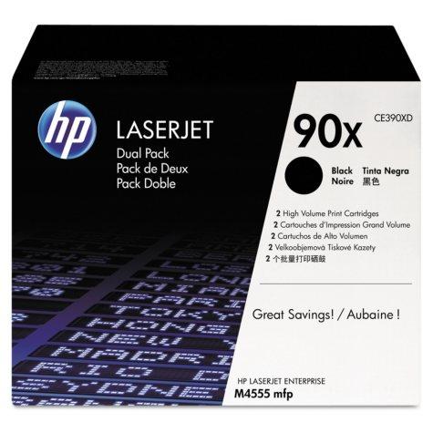 HP 90X (CE390X-D) High Yield Original LaserJet Toner Cartridges, Black (2 pk.)