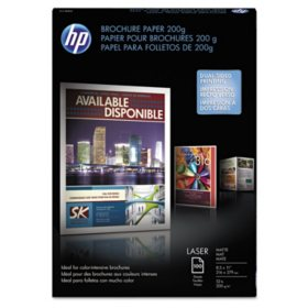 HP Laser Brochure Paper, 52 lb, Matte, 8 1/2 x 11, White, 100 Sheets