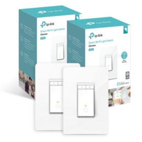 TP-Link HS220 Smart Wi-Fi Light Switch with Dimmer (2 Pack)