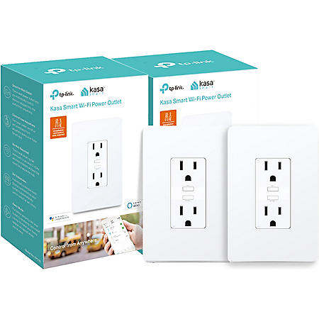 TP-Link KP200 Kasa Smart Wi-Fi In-Wall Power Outlet (2 pack