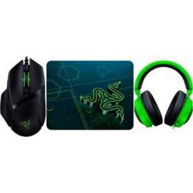 Razer Basilisk V2 Wired Optical Gaming Mouse, Goliathus Mobile Gaming Mouse Pad & Kraken Gaming Headset bundle
