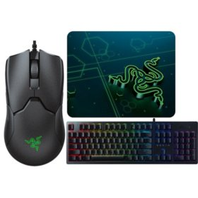 Razer Viper Wired Optical Gaming Mouse with Chroma RGB Lighting, Goliathus Mobile Gaming Mouse Pad & Huntsman Wired Gaming Opto-Mechanical Switch Keyboard with Chroma Back Lighting Bundle