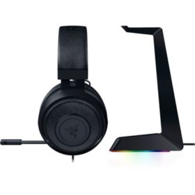Razer Kraken Wired Stereo Gaming Headset & Razer Base Station Chroma Headphone/Headset Stand bundle