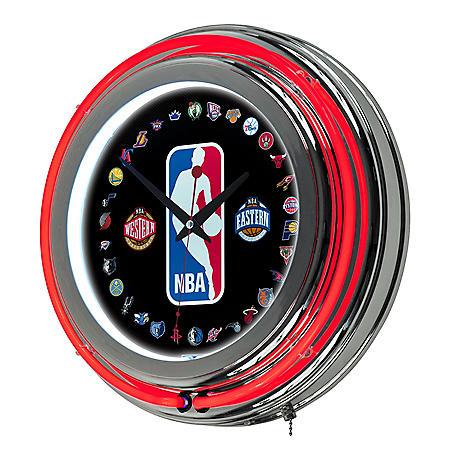 NBA Logo 30 Team Chrome Double Ring Neon Clock
