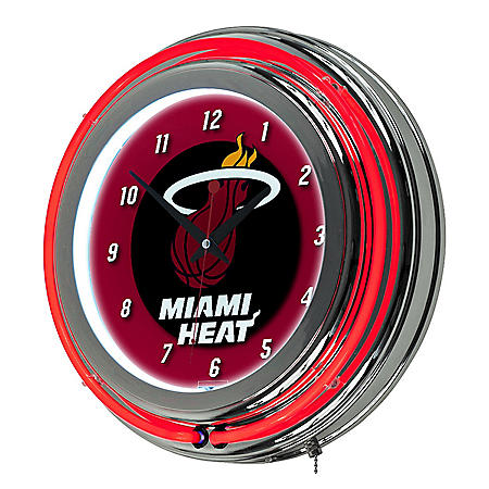 Miami Heat NBA Chrome Double Ring Neon Clock