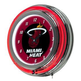 Miami Heat NBA Chrome Double Ring Neon Clock
