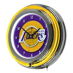 Los Angeles Lakers NBA Chrome Double Ring Neon Clock