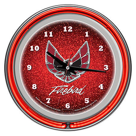 Pontiac Firebird Chrome Double Ring Neon Clock, Red