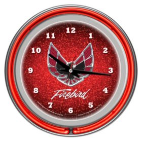Pontiac Firebird Chrome Double Ring Neon Clock, Red