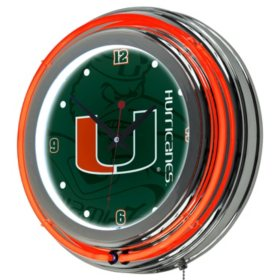 University of Miami Neon Wall-Mounted Clock (Assorted Styles)