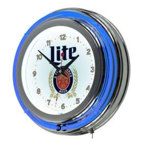 Miller Lite Neon Clock, Retro Design