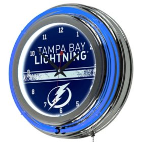 NHL Chrome Double Rung Neon Clock, Tampa Bay Lightning