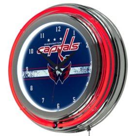 NHL Chrome Double Rung Neon Clock, Washington Capitals