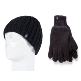 Heat Lockers® Men's Ribbed Knit Hat & Glove Set