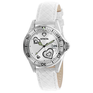 Invicta Ladies Pro Diver Heart Watch with Leather Strap