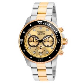 Invicta Men's Pro Diver Collection Quartz 45mm Two Tone Stainless Steel, Gold Dial