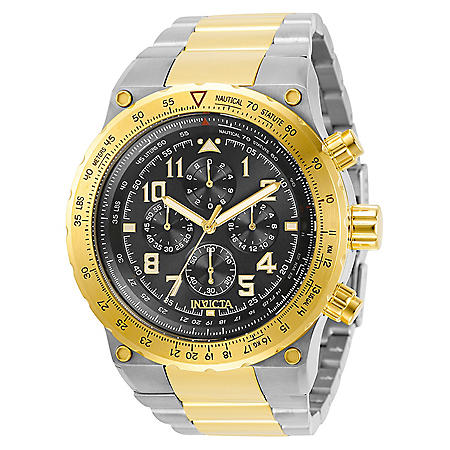 Invicta Men's Aviator Collection Quartz 50mm Two Tone Stainless Steel, Black Dial