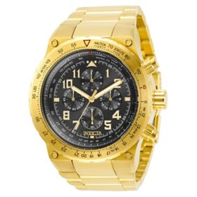 Invicta Men's Aviator Collection Quartz 50mm Gold Tone Stainless Steel, Black Dial