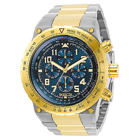 Invicta Men's Aviator Collection Quartz 50mm Two Tone Stainless Steel, Blue Dial