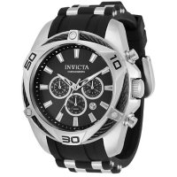 Invicta Men's Bolt Collection Quartz 50mm Black Silicone and Stainless Steel, Black Dial