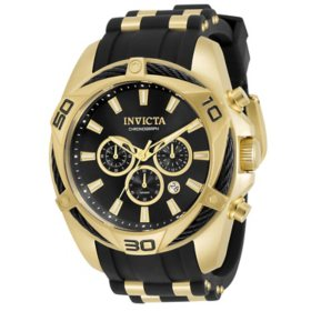 Invicta Men's Bolt Collection Quartz 50mm Black Silicone and Gold Tone Stainless Steel, Black Dial