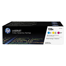 HP 128A Original LaserJet Toner Cartridge, Cyan/Magenta/Yellow (3 pk., 1300 Page Yield)