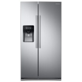 SAMSUNG 24.5 Cu. Ft. Side-by-Side Refrigerator with External Water and Ice Dispenser, Stainless Steel - RS25J500DSR