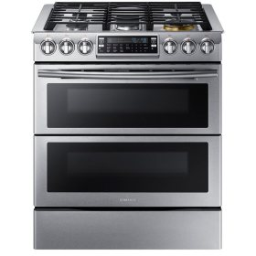 SAMSUNG 5.8 Cu. Ft. Slide-in Gas Flex Duo Range with Dual Door and Wi-Fi, Stainless Steel - NX58K9850SS
