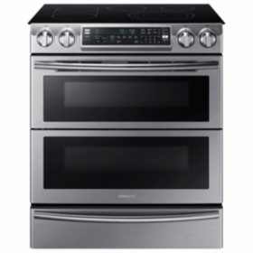 Samsung 5.8 Cu. Ft. Slide-in Electric Flex Duo Range with Dual Door, Stainless Steel - NE58K9850WS