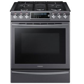 SAMSUNG 5.8 Cu. Ft. Slide-in Gas Range with Dual Convection, Black Stainless - NX58K9500WG