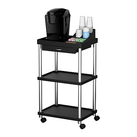 Mind Reader Valet 3-Tier Rolling Coffee Cart (Assorted Colors)
