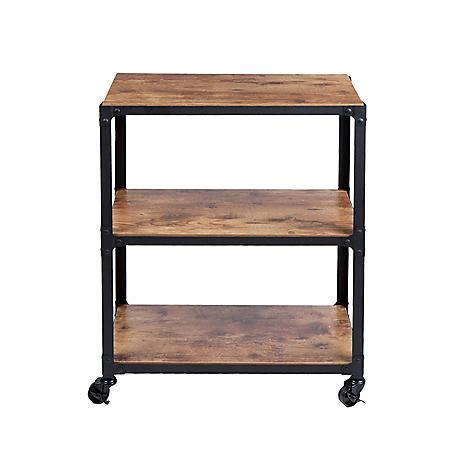 Mind Reader 3-Shelf Wood and Metal Utility Cart