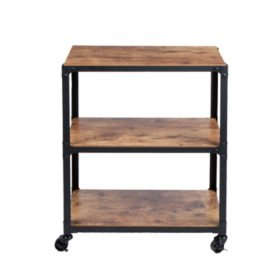 Mind Reader 3-Shelf Wood and Metal Utility Cart