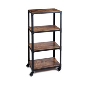 Mind Reader 4-Shelf Wood and Metal Utility Cart