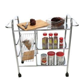 Mind Reader 3-Tier Metal Cart with Wire Baskets