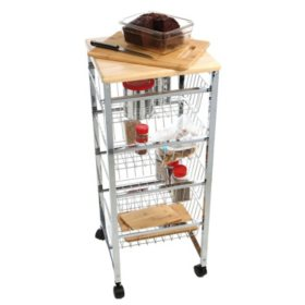 Mind Reader 4-Tier Wire Basket Cart with Wood Surface