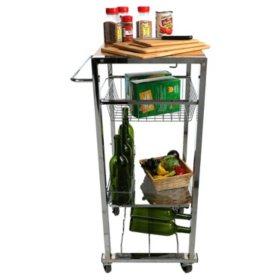 Mind Reader Chop Block Mobile Kitchen Cart