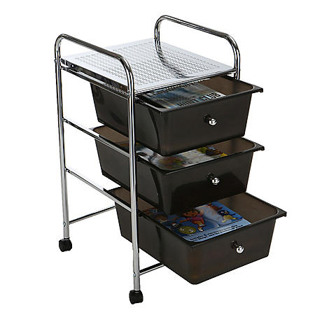 Mind Reader Metal Binding 3-Drawer Trolley