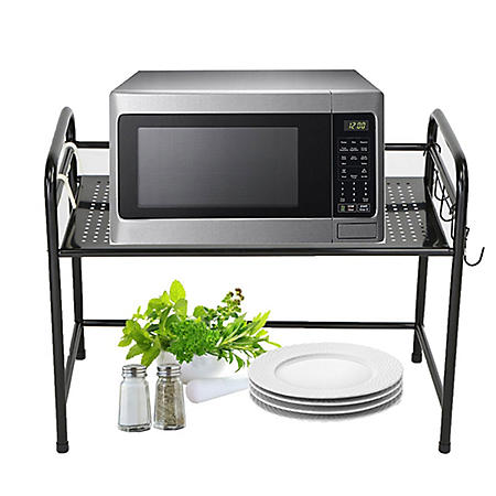 Mind Reader Microwave Shelf Counter Unit with Hooks