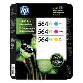 HP 564XL High Yield Original Ink Cartridge, Cyan/Magenta/Yellow (3 pk., 750 Page Yield)