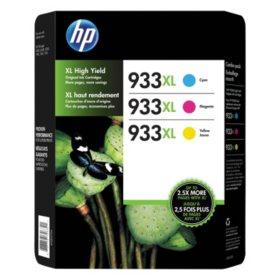 HP 933XL, (D8J65BN) High Yield Cyan/Magenta/Yellow Original Ink w/Photo Paper