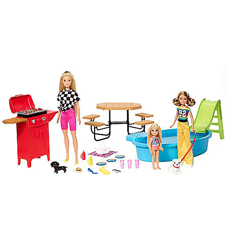Barbie Sisters Backyard BBQ Dolls and Accessories Set