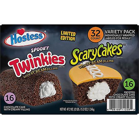 Hostess ScaryCakes Cupcakes and Chocolate Cake Twinkies Variety Pack (32 ct.)