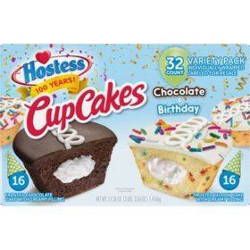 Hostess Birthday Cupcake & Chocolate Cupcake Variety Pack (1.43 oz., 32 ct.)