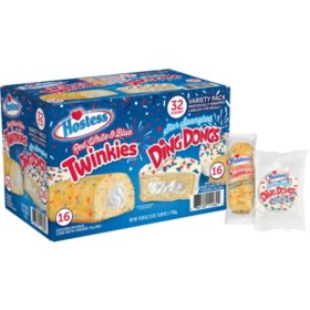 Hostess Red, White, & Blue Twinkies and Star Spangled DingDongs Variety Pack (42.08oz)