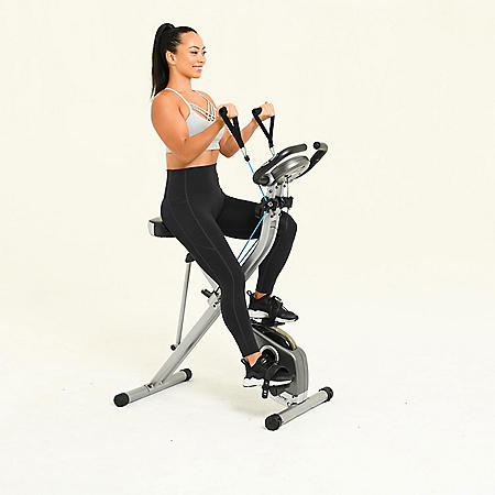Exerpeutic Folding Magnetic Upright Bike with Pulse and MyCloudFitness Cadence Sensor, Resistance Bands and Phone Holder Combo Kit