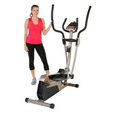 "EXERPEUTIC 5000 Magnetic Elliptical with Double Transmission Drive, Bluetooth Technology  and 18"" Stride"