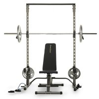 Fitness Reality Multi-Function Adjustable Power Rack Squat Stand with 1000 Super Max Bench